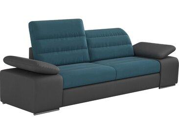 Canapé 2 places design en tissu bleu et pvc gris