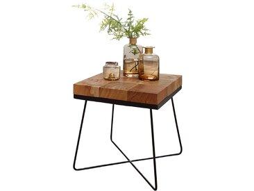 Table d'appoint design carré 45 x 45 x 51 cm en bois massif d'Acacia avec structure en métal collection C-Yayoi