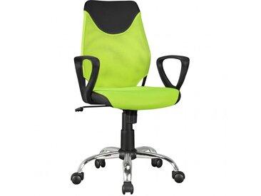Chaise ergonomique pour enfant réglable en hauteur à 5 roulettes coloris vert et noir collection C-Noah