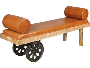 Banc vintage marron rustique en bois massif manguier et pu avec 2 roues en fer massives L. 178 x P. 50 x H. 76 cm collection C-Arana