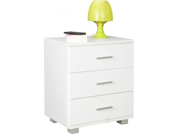 Table de chevet 45 cm à 3 tiroirs en panneaux de particules mélaminés coloris blanc collection C-Svendsen