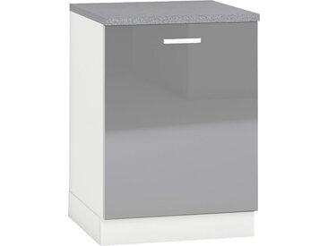 Meuble bas de cuisine design 60 cm avec 1 porte coloris blanc mat et gris laqué