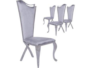 Lot de 4 chaises design pied baroque en acier inoxydable poli et recouvrement en velours gris L. 54 x P. 49 x H. 117 cm collection C-Skemp