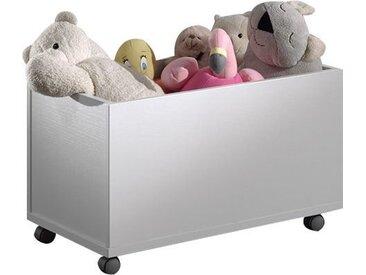 Coffre à jouets moderne 68 cm avec roulettes pour chambre enfant coloris blanc