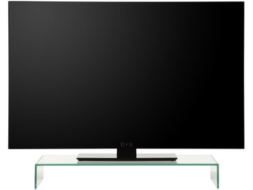 Support TV design 87 cm en verre coloris transparent