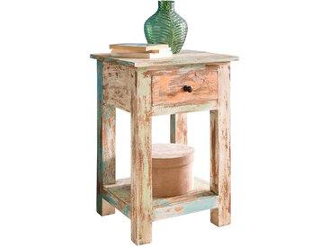 Table de chevet vintage en bois massif multi-couleur 40x40x60 cm collection C-Atsue