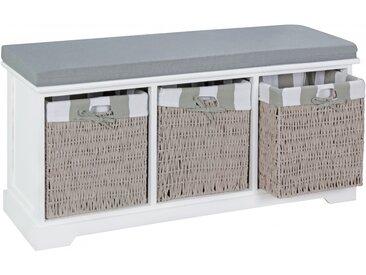 Banc contemporain 100 cm à 3 paniers en rotin coloris gris et blanc collection C-Jali