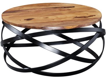 Table basse design marron rustique en bois massif sheesham et structure en acier  L. 60 x P. 60 x H. 30 cm collection C-Beyer