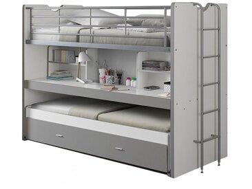 Lit mezzanine combiné 90x200 cm avec bureau et tiroir-lit coloris blanc et gris