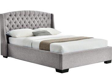 Lit 160x200 cm design et tête de lit capitonnée en tissus beige