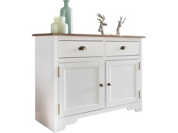 Buffet contemporain avec 2 portes et 2 tiroirs en bois pin massif peint en blanc de style country 110 x 85 x 45 cm collection C-Trisa