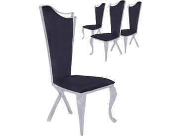 Lot de 4 chaises design pied baroque en acier inoxydable poli et recouvrement en velours noir L. 54 x P. 49 x H. 117 cm collection C-Skemp