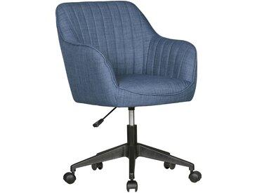 Chaise de bureau design pivotante avec dossier en tissu bleu clair supporte 120 kg L. 65 x P. 65 x H. 83 - 90 cm collection C-Kunie