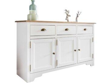 Buffet contemporain avec 3 portes et 3 tiroirs bois pin massif peint en blanc et plateau en marron de style country 140 x 85 x 45 cm collection C-Trisa