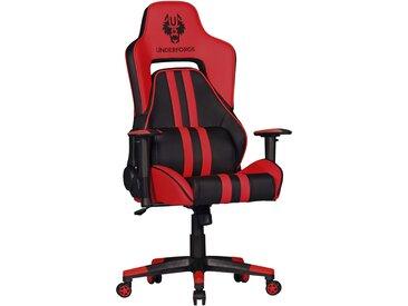 Chaise de bureau baquet Racer pour gamer avec coussins L. 70 x P. 70 x H. 121 - 129 cm collection C-Logue coloris rouge et noir collection C-Logue supporte 120 kgs