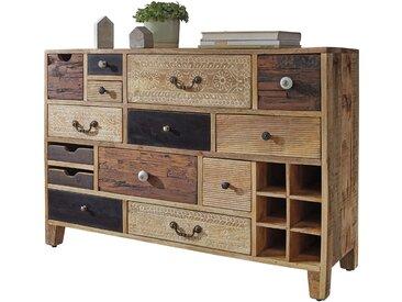 Bahut buffet style vintage en bois massif de manguier et mdf avec 14 tiroirs 144x40x80 cm collection C-Israel