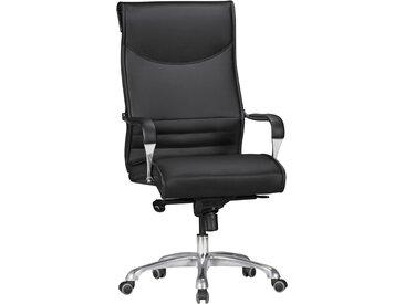 Chaise de bureau direction design coloris noir avec base en aluminium poli collection C-Rhianna