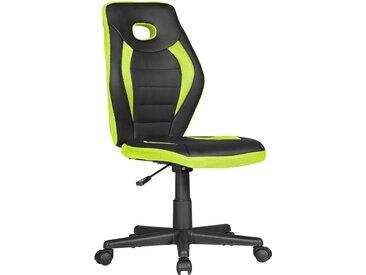 Chaise de bureau ergonomique pour enfants réglable en hauteur sans accoudoir coloris noir et jaune L. 63 x P. 63 x H. 91-103 cm collection C-Helin