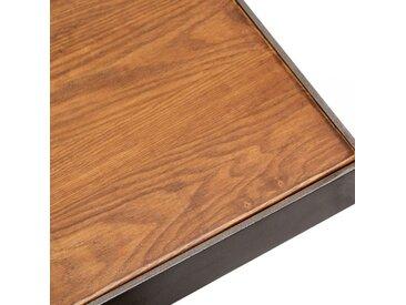 Table Carrée Raiden, Bois de Frêne Massif, Finition Noyer Taille: 60cm Carré