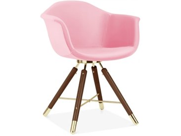 Cult Studio Chaise avec Accoudoirs Moda CD5, Rembourré en Velours, Rose Pied de chaise et support: Finition Noyer / Or
