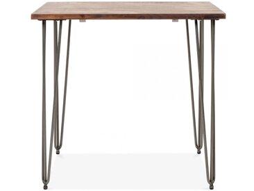 Table Épingle Carré en Bois Foncé - Gunmetal 82cm