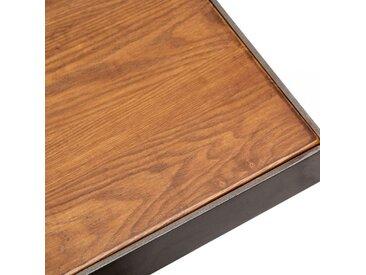 Table Carrée Raiden, Bois de Frêne Massif, Finition Noyer Taille: 70cm Carré