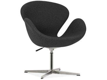 Chaise Lounge Swan avec Pied en Aluminium, Gris Foncé