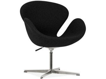 Chaise Lounge Swan avec Pied en Aluminium, Noir
