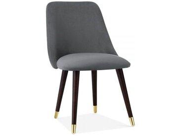 Chaise de Salle à Manger Primrose, Rembourrée en Velours, Gris Style Pied de Chaise: Jambes Noyer avec de l'Or