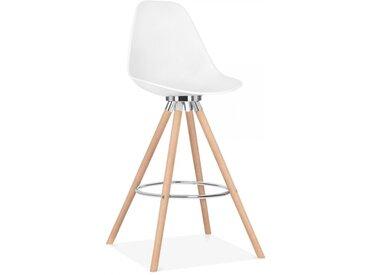 Cult Studio Tabouret de Bar avec Dossier Moda CD2 - Blanc 74cm Pied de chaise et support: Finition Naturel / Chrome