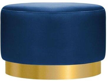 Tabouret Bas Viserra, Tapissé de Velours, Bleu Royal