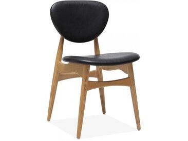 Chaise en Bois Harpen, Tapissé en Faux Cuir, Noir Couleur: Naturel