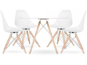 Cult Studio Ensemble à manger Moda CD3, 1 table ronde et 4 chaises, blanc 110cm Pied de chaise et support: Finition Naturel / Chrome