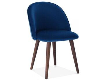 Chaise de Salle à Manger Dahlia, Rembourrée en Velours, Bleu Royal Couleur de la Jambe: Noyer