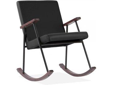 Chaise à Bascule Sydney, Tapissée de Faux Cuir, Noir