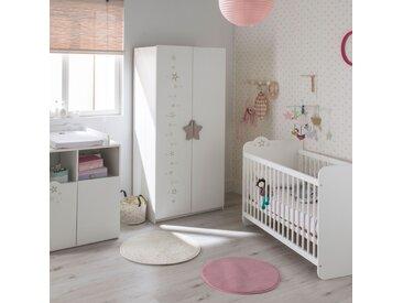 Ensemble lit bébé + commode + armoire blanc et gris - STELLA