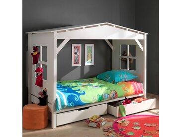 Lit cabane 90x200 cm avec 2 tiroirs blanc - PINO
