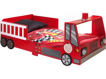 Lit camion de pompier 70x140 cm + matelas rouge - FIRE