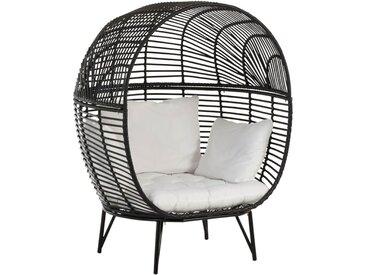 Fauteuil boule 117x110x151 cm en métal noir - KYOTO