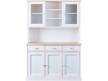 Buffet vaisselier 5 portes et 3 tiroirs en pin massif naturel et blanc - DANN