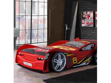 Lit voiture 90x200 cm + matelas rouge - CARINO