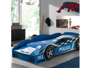 Lit voiture de police 70x140 cm + matelas bleu - CARINO