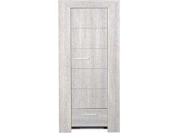 Bonnetière 1 porte et 1 tiroir  80x45x175 cm chêne grisé - PAULA