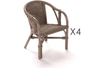 Lot de 4 fauteuils enfant en rotin taupe - STARK