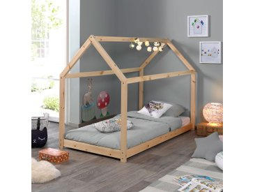 Lit cabane 90x200 cm en bois naturel - ADAHY