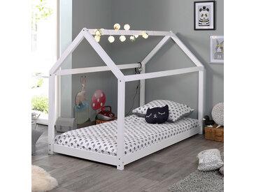 Lit cabane 90x200 cm en bois blanc - ADAHY