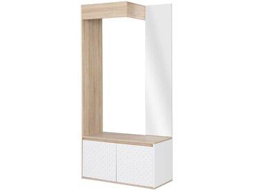 Vestiaire 91 cm avec 2 portes naturel et blanc - WHYTE