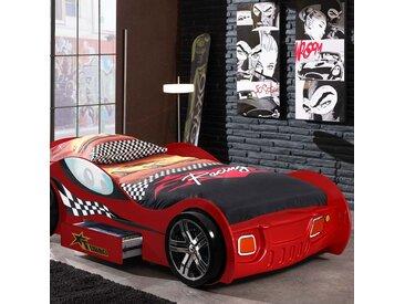 Lit voiture de course avec tiroir 90x200 cm + matelas rouge - CARINO