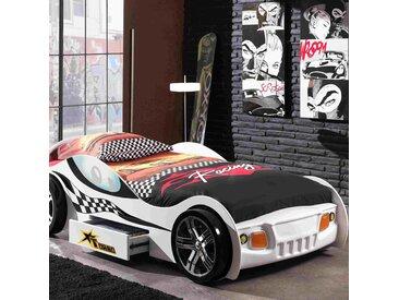 Lit voiture de course avec tiroir 90x200 cm + matelas blanc - CARINO