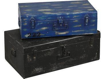 Lot de 2 malles en acier noir et bleue ATELIER METAL